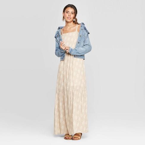 Women's Sleeveless Square Neck Tiered Maxi Dress - Universal Thread™ Cream - image 1 of 3