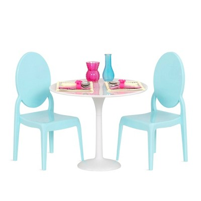 """Our Generation Furniture Playset for 18"""" Dolls - Table for Two in White & Blue"""