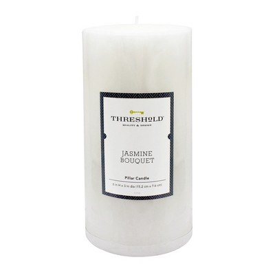 6  x 3  Mottled Pillar Candle Jasmine Bouquet - Threshold™