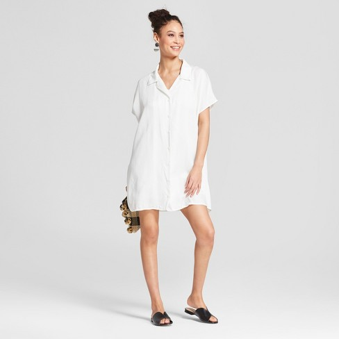 Women S Short Sleeve Mini Shirtdress K By Kersh White