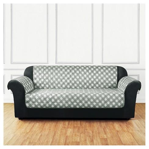 Furniture Flair Gingham Plaid Sofa Cover Gray - Sure Fit : Target