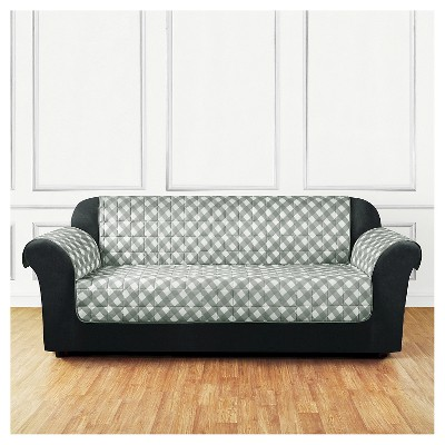 Exceptionnel Furniture Flair Gingham Plaid Sofa Cover Gray   Sure Fit : Target