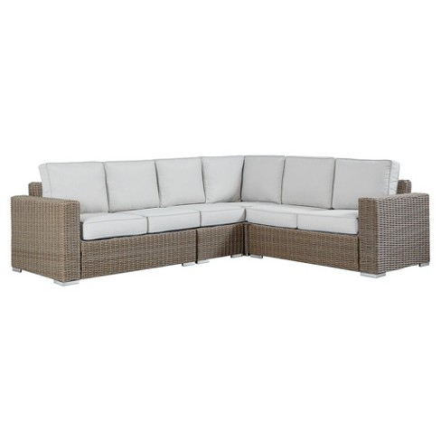 Riviera Pointe Wicker Patio 6-Seat Track Arm Sectional with Cushions - Mocha - Inspire Q - image 1 of 2