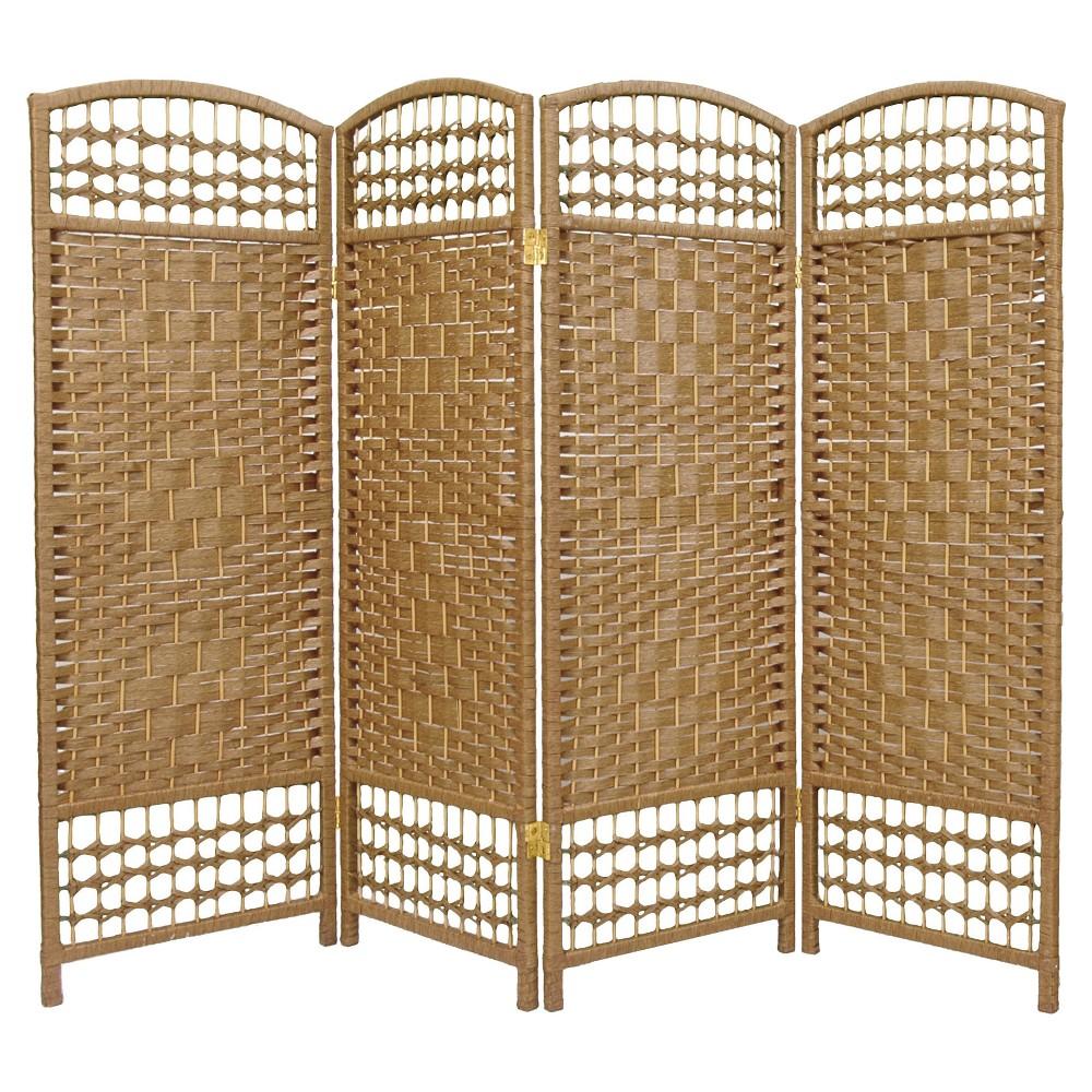 Image of 4 ft. Tall Fiber Weave Room Divider - Natural (4 Panels) - Oriental Furniture, Desert