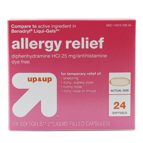 Diphenhydramine Allergy Relief Softgels - 24ct - Up&Up™ (Compare to active ingredient in Benadryl Liqui-Gels) - image 1 of 1