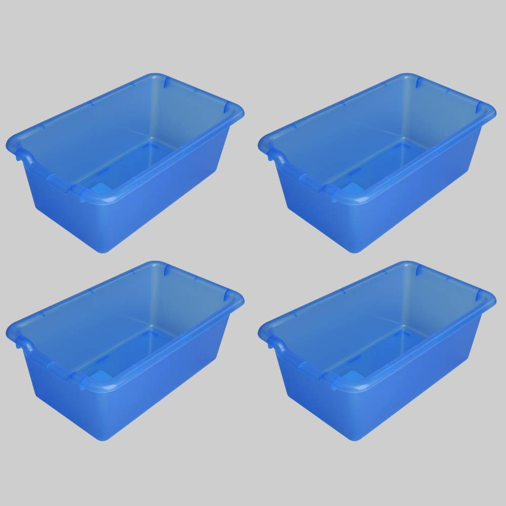 4ct Transparent Plastic Bins Blue - Bullseye's Playground was $12.0 now $6.0 (50.0% off)