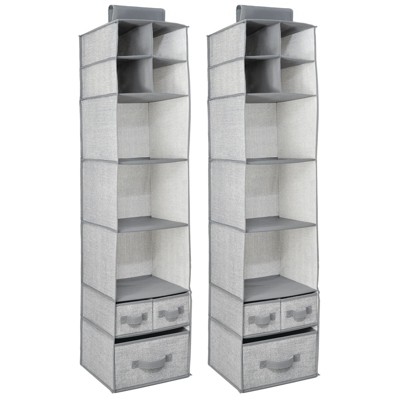 mDesign Over Closet Rod Nursery Storage Organizer with Drawers, 2 Pack