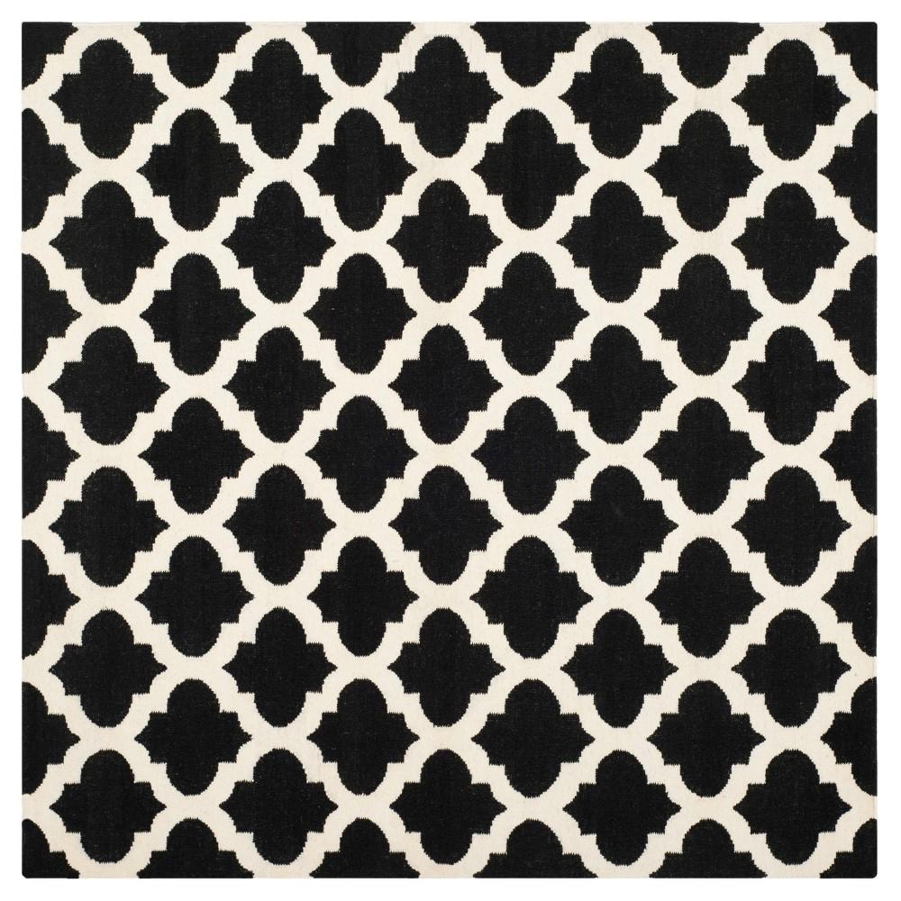 Laleh Dhurry Rug - Black/Ivory - (6'x6' Square) - Safavieh