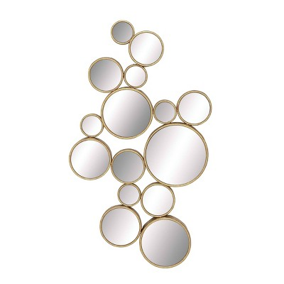 """22"""" x 40"""" Large Metal Contemporary Circles Wall Mirror Gold - CosmoLiving by Cosmopolitan"""