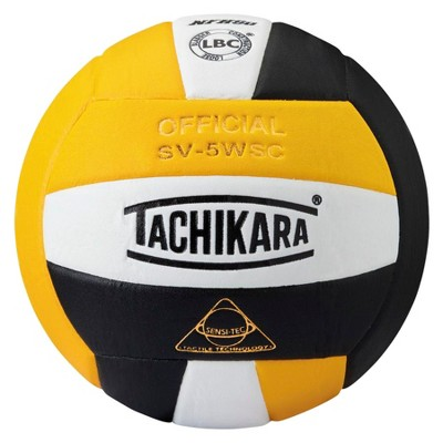 Tachikara SV-5WSC NFHS Composite Leather Volleyball, Gold/White/Black