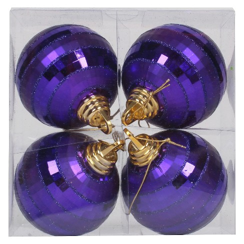 4ct Purple Shiny Mirror Christmas Ornament Set - image 1 of 1