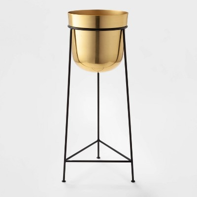 """26"""" x 9.2"""" Brass Planter with Stand Gold/Black - Project 62™"""