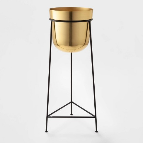 """26"""" x 9.2"""" Brass Planter With Stand Gold/Black - Project 62™ - image 1 of 2"""