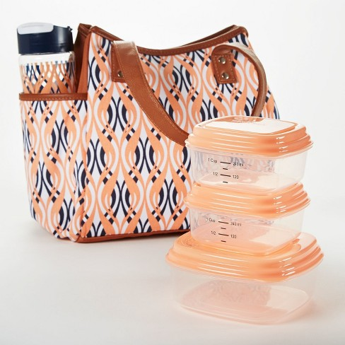Fit & Fresh Westerly Insulated Lunch Box Set with Reusable Containers & Alpine Water Bottle - Peach Teardrop Waves - image 1 of 1