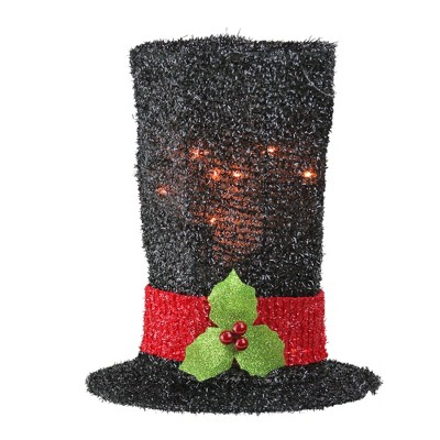 """Northlight 9"""" Lighted Black Tinsel Snowman Top Hat Christmas Tree Topper - Clear Lights"""