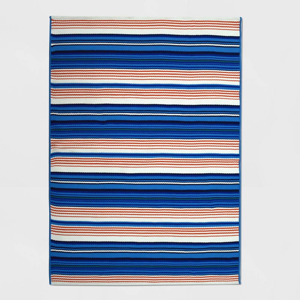 Image of 5' x 7' Multi Stripe Outdoor Rug Seaside - Threshold