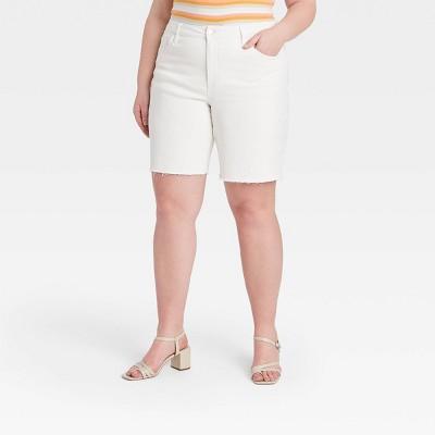 Women's Plus Size Bermuda Jean Shorts - Ava & Viv™ White