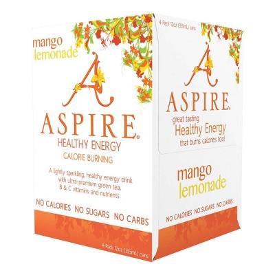 Aspire Healthy Energy Mango Lemonade - 4pk/12 fl oz Cans