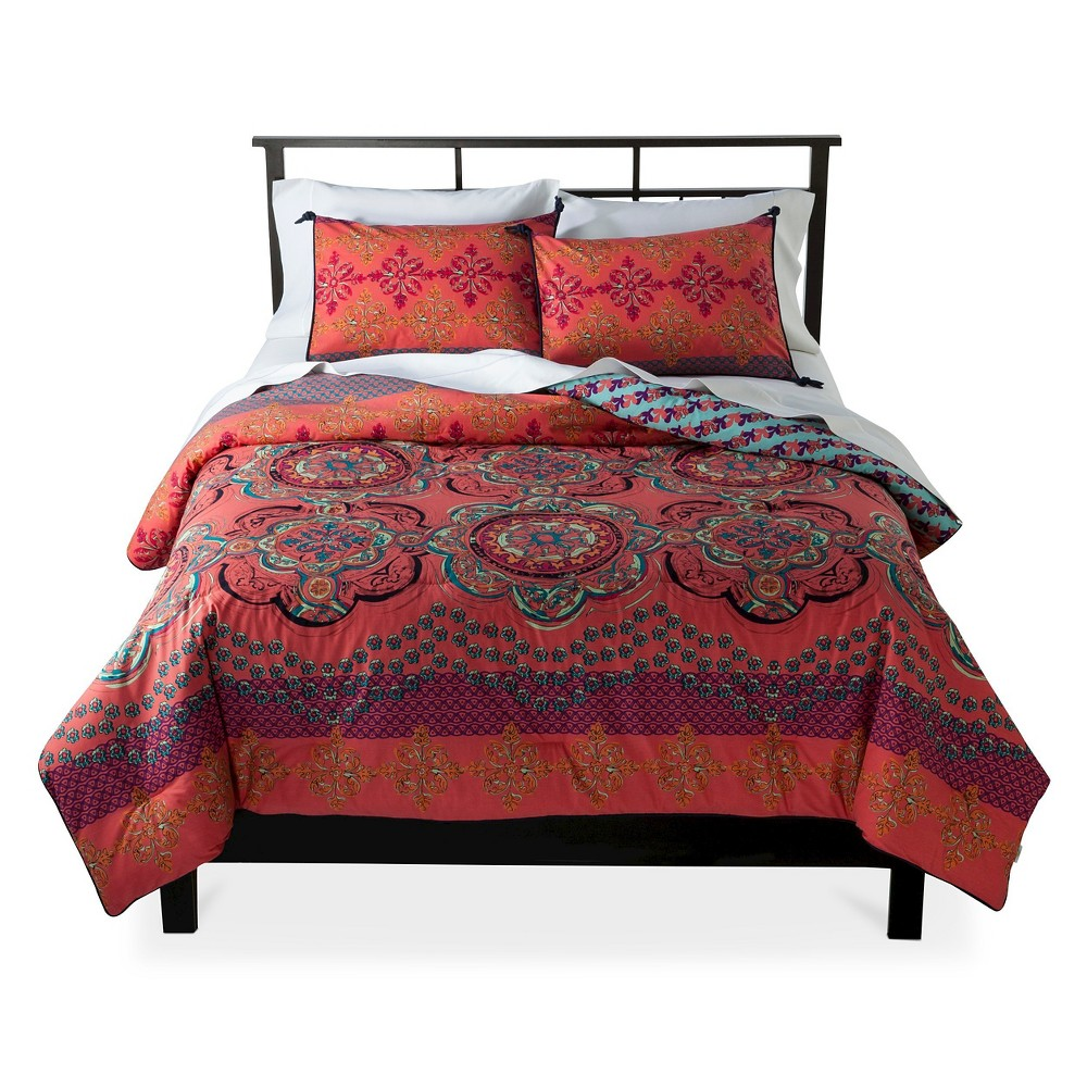 Image of Coral Nadia Medallion Reversible Comforter Set (King) 3 Piece - Boho Boutique, Pink