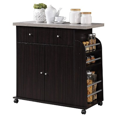 Hodedah Kitchen Island Cabinet Drawer Storage with Large Spice and Towel Rack with Wheels, Chocolate