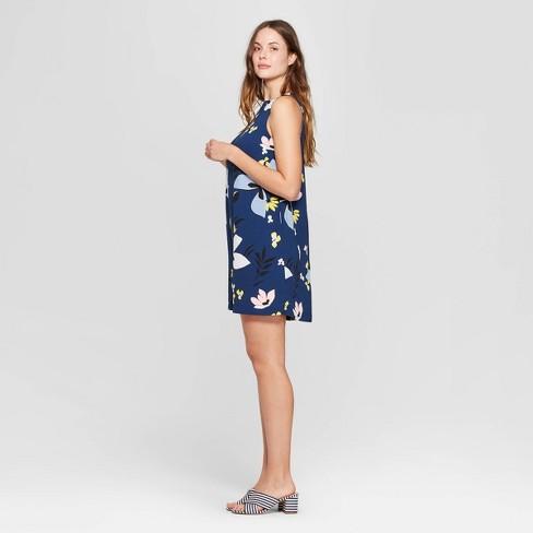 d62097c95b63 Women s Floral Print Sleeveless Crewneck Crepe Dress - A New Day™ Navy    Target