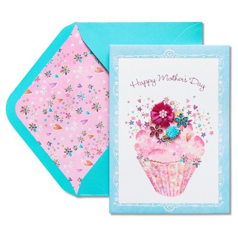 Papyrus Cupcake with Flowers Mother's Day Card with Glitter - image 1 of 4