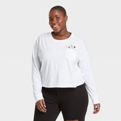 Women's Disney 101 Dalmatians Pocket Long Sleeve Graphic T-Shirt - White
