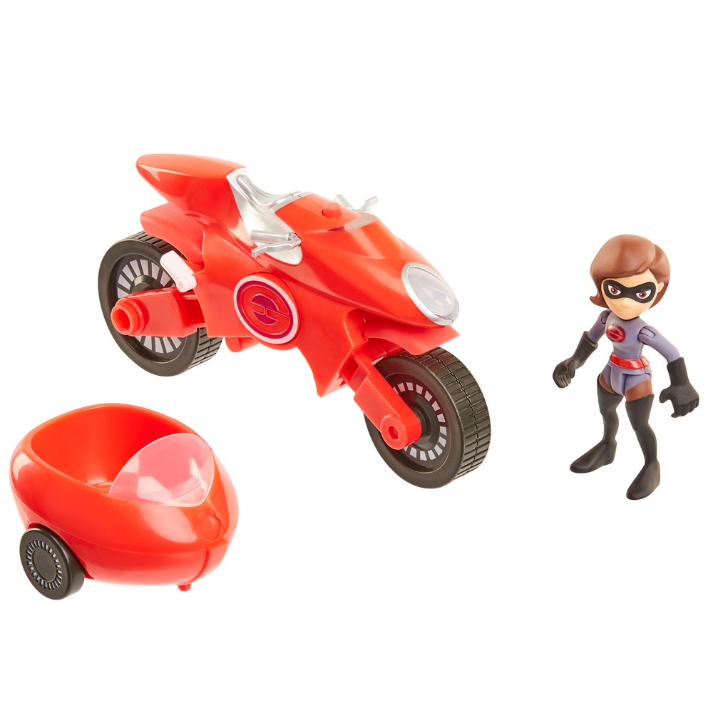 Incredibles 2 Junior Supers Elasticycle & Elastigirl 3 Scale Action Figure Set