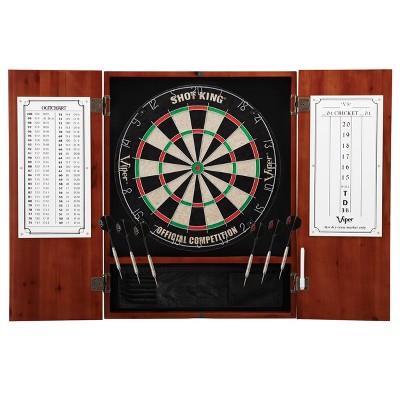 Viper Metropolitan Sisal Fiber Bristle Dartboard and Cabinet Bundle Standard Set - Brown