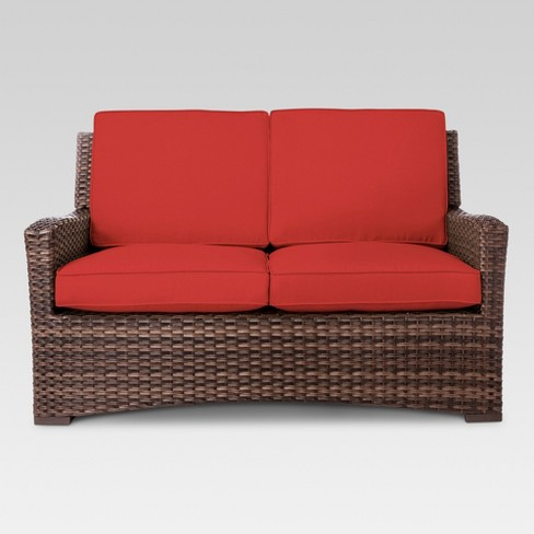 Halsted Wicker Patio Loveseat Red