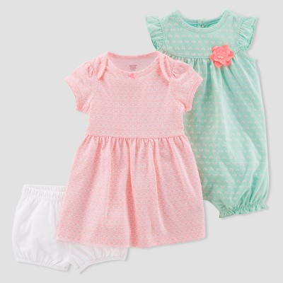 Baby Girls' 2pk Dress and Romper Set - Just One You® made by carter's Mint/Orange 3M