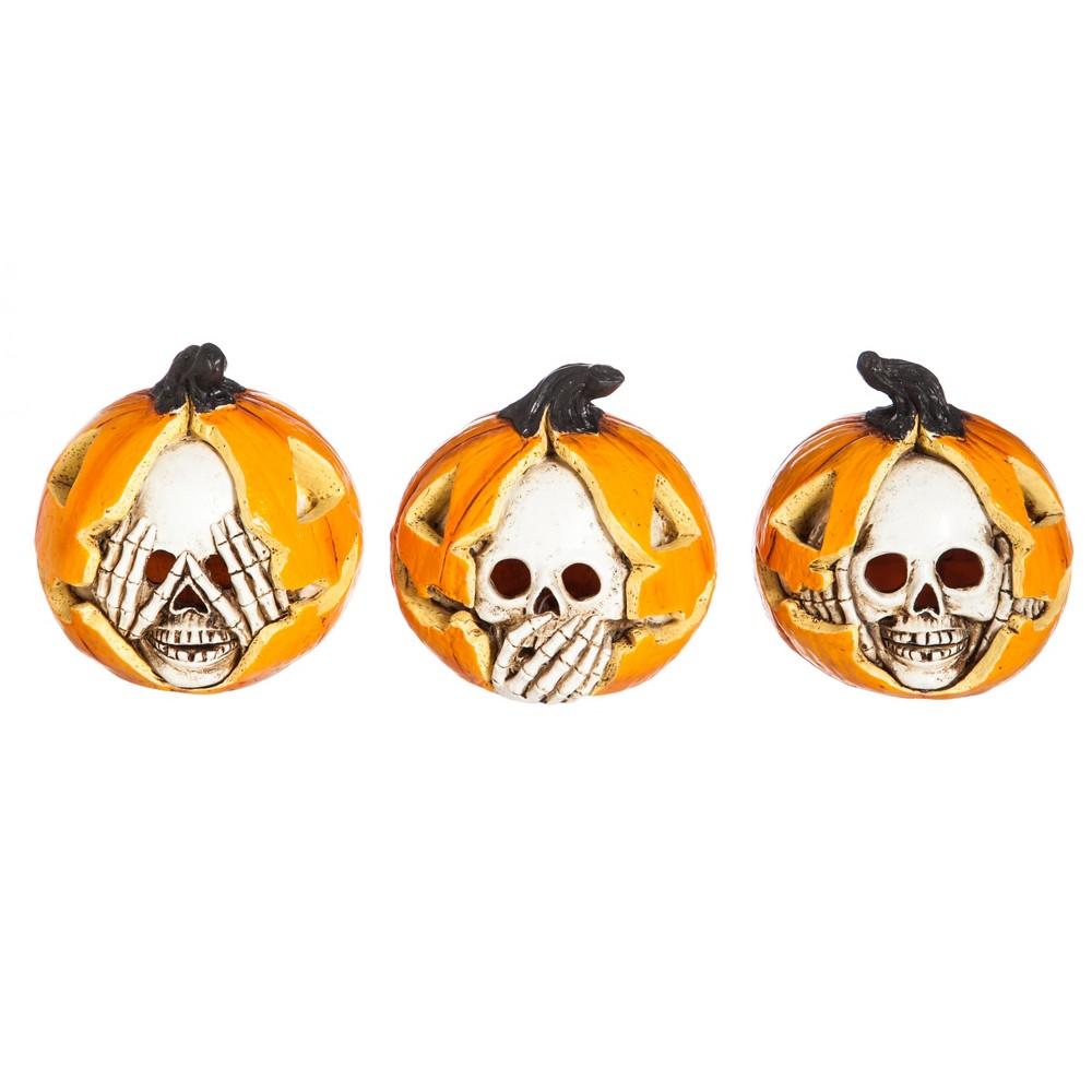 Halloween Polystone Hear/See/Speak No Evil Led Décor, set of 3, Orange