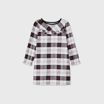 Kids' Holiday Plaid Flannel Matching Family Pajamas Nightgown - Wondershop™ White 12