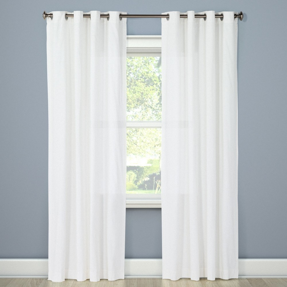 Best Buy Natural Solid Curtain Panel White 54x95 Threshold Natural White