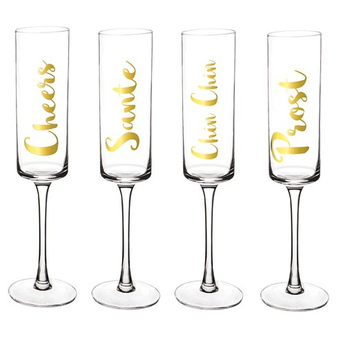 Contemporary Gold Cheers Champagne Flutes Drinkware Set - image 1 of 4