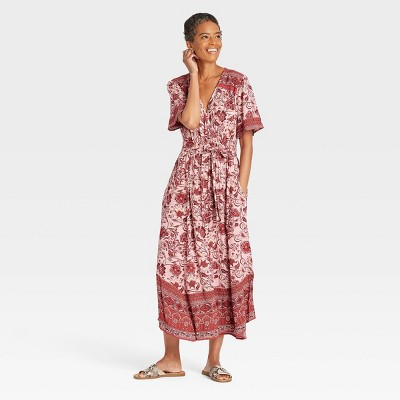 Women's Short Sleeve Wrap Dress - Knox Rose™ Pink Floral