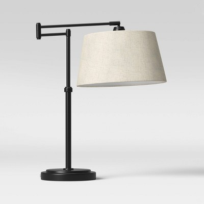 "23"" Traditional Swing Arm Oil Rubbed Table Lamp Black - Threshold™"