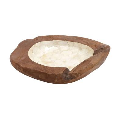 "5"" x 18"" Capiz and Teak Wood Lined Shell Bowl Natural - Olivia & May"
