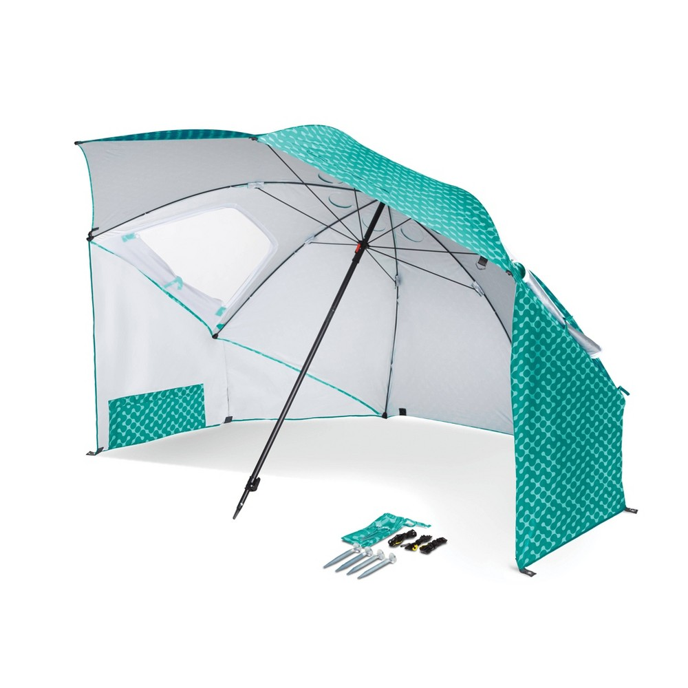 Sport-Brella Portable Sun and Weather Shelter - Turquoise The Sport-Brella is the original portable sun and weather shelter with all the features you need to enjoy your time outside. Whether you are on the sidelines, at the beach, or having fun just about anywhere, there is no easier, more convenient or effective protection available. Canopy supported by 4.5 mm steel ribs and a 5mm steel stretcher. Telescoping pole with a reinforced tip held in place by a locking mechanism. Dual canopy with top wind vents and strong, side zippered windows for efficient airflow. Durable internal pockets for stakes, valuables and gear. Color: Turquoise.