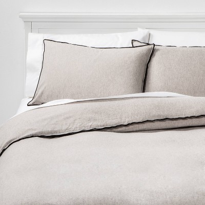 King Border Stitch Flannel Duvet Cover & Sham Set Heathered Gray - Project 62™ + Nate Berkus™