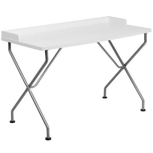 Computer Desk with Frame - White Laminate Top/Silver Frame - Riverstone Furniture Collection - image 1 of 2