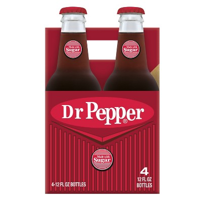 Dr Pepper Soda Made with Sugar - 4pk/12 fl oz Glass Bottles