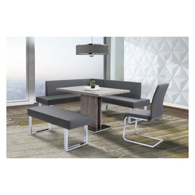 Good Amanda Contemporary Dining Bench In Gray Faux Leather And Chrome Finish    Armen Living : Target