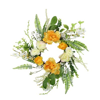 Northlight Hydrangea and Rose Twig Artificial Floral Wreath, Orange 16-Inch