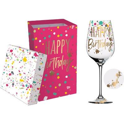Cypress Home Wine Glass W/Box, 12 Oz., Happy Birthday