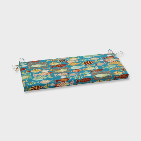 Hooked Beach Outdoor Bench Cushion Blue - Pillow Perfect - image 1 of 1
