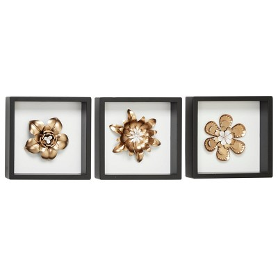 "(Set of 3) 10"" x 10"" Metal Flower Wall Decor Sculptures in Square Frames White/Gold - Olivia & May"