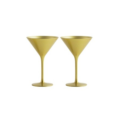 8oz 2pk Crystal Olympia Martini Glasses Gold - Stoelzle