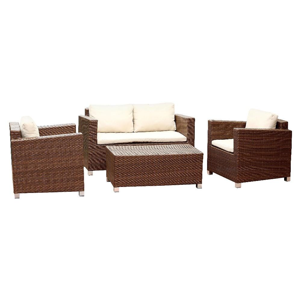 Image of 4pc Cameron Wicker Outdoor Sofa Set Brown - Abbyson Living