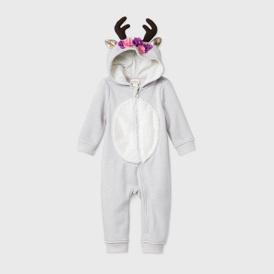 Baby Girls' Reindeer Zip-Up Romper - Cat & Jack™ Pink Newborn